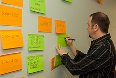 We planned the day with sticky notes on a wall.
