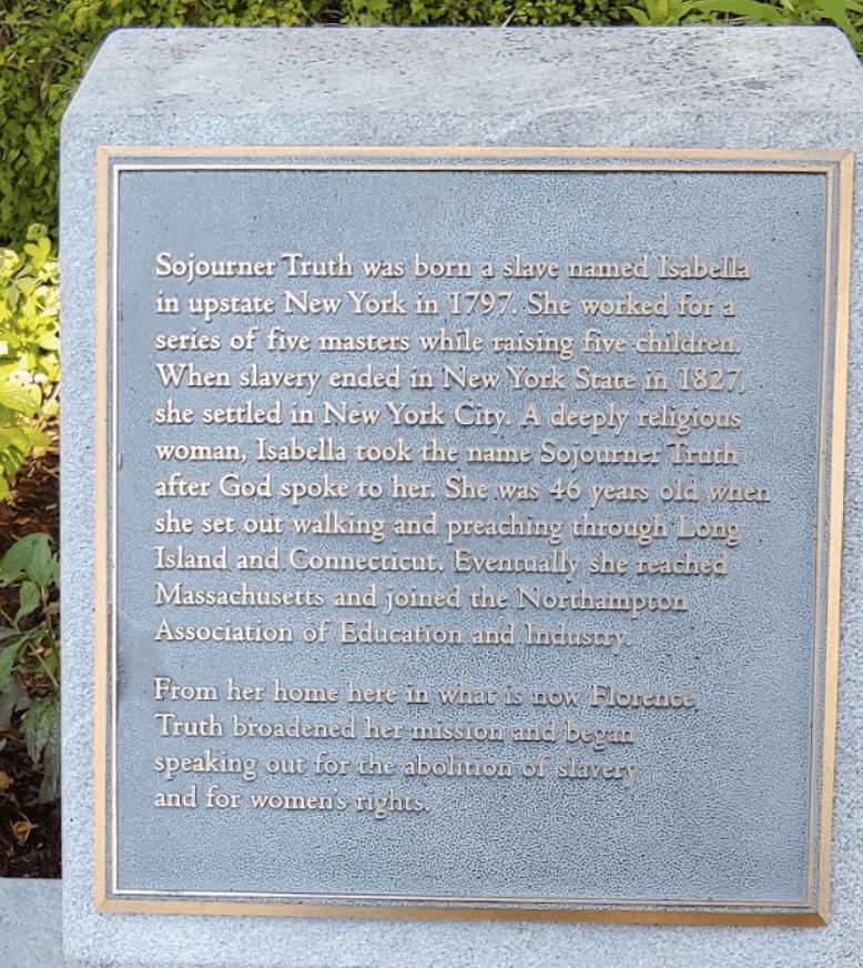Sojourner Truth park plaque