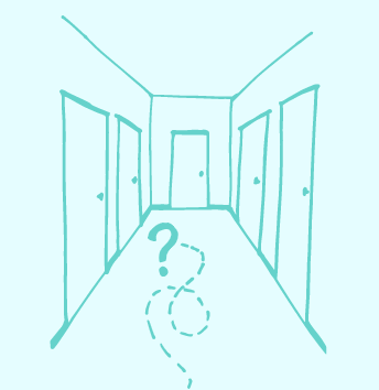career direction confusion stuck in the hallway image