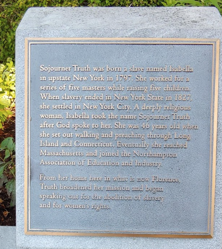 Sojourner Truth park plaque