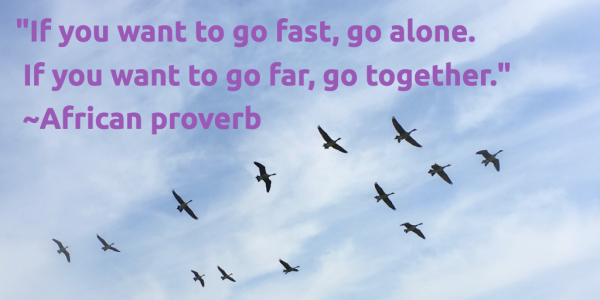 """If you want to go fast, go alone. If you want to go far, go together"" African proverb"